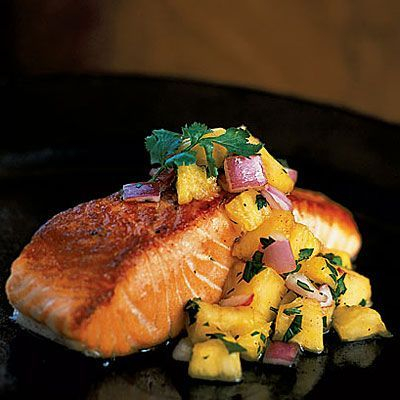 Pan-Grilled Salmon with Pineapple Salsa - Weight Loss Food Recipes #weight #loss #foods