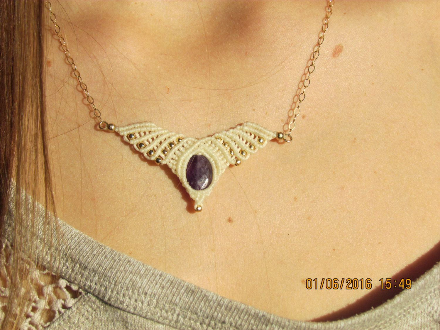 New to MacrameLoveJewelry on Etsy: Angel wings necklace labradorite necklace  tribal necklace macrame necklace collier en macramé gypsy necklace Pyrite charm (40.95 USD)