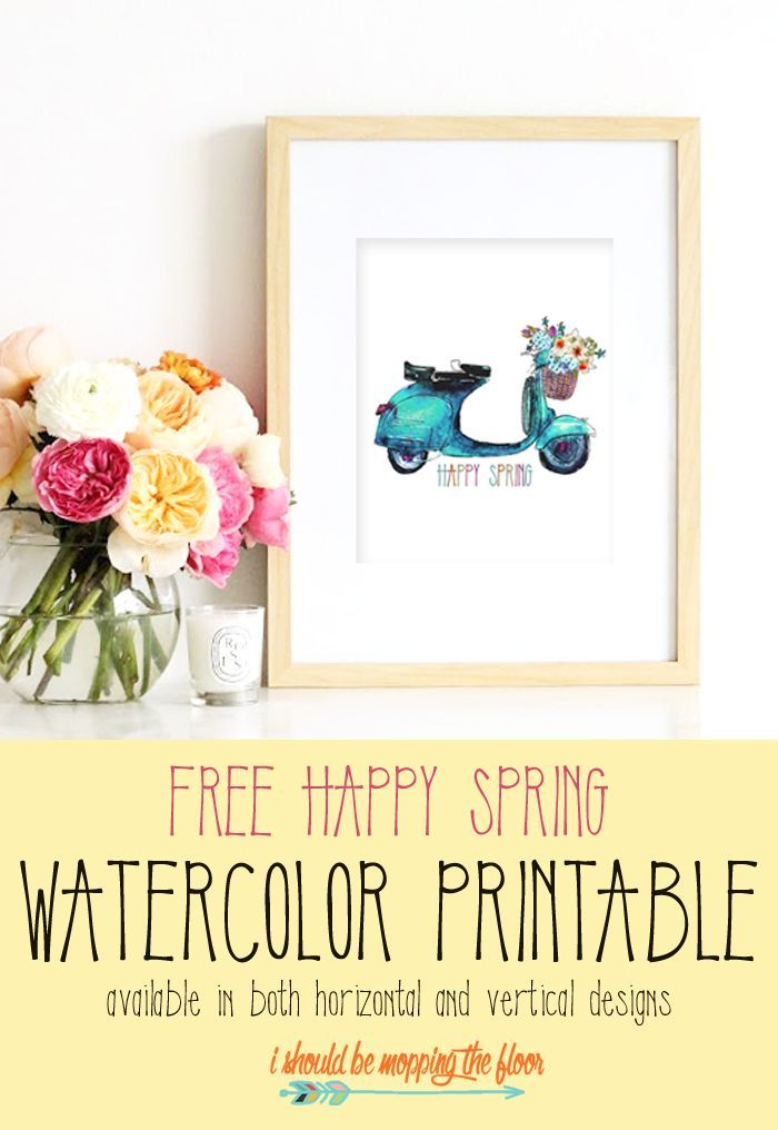 Free Spring Watercolor Printable Printables Spring Crafts Free
