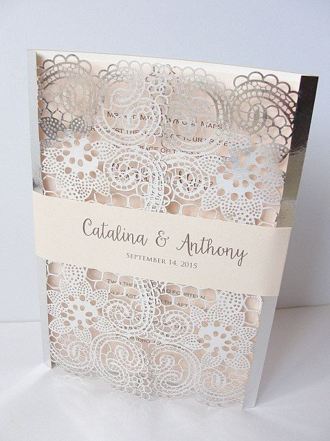 laser cut wedding invitation lace laser cut wedding invite lace wedding invite silver wedding. Black Bedroom Furniture Sets. Home Design Ideas
