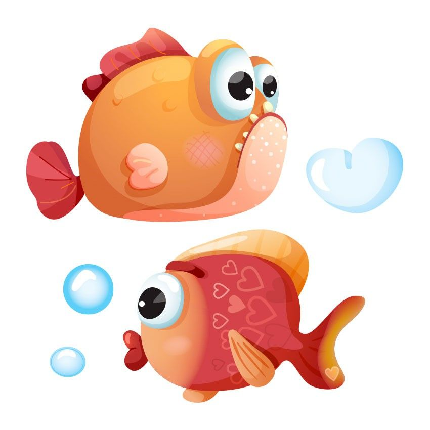 Stickers Mer Poissons Amoureux En 2019 Stickers