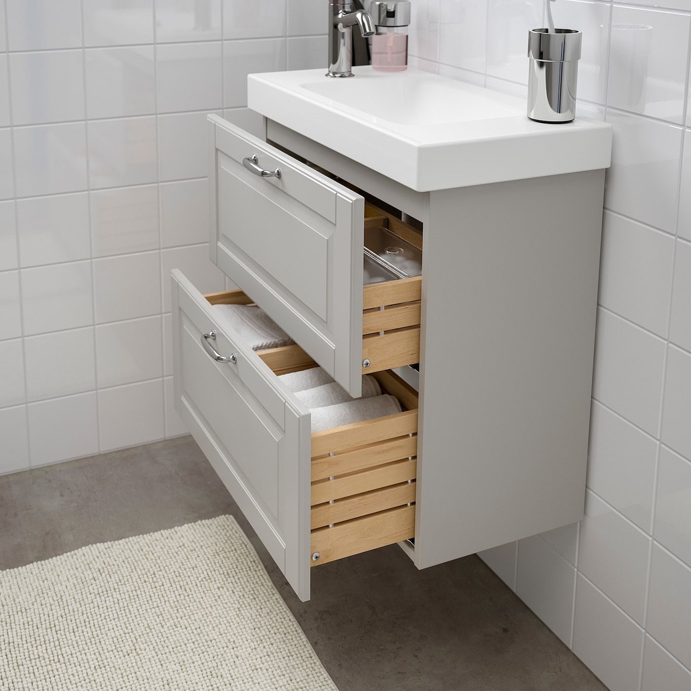 Ikea Godmorgon Hagaviken Bathroom Vanity Kasjon Light Gray Voxnan In 2020 Ikea Badezimmer Waschbeckenschrank Ikea Waschbecken