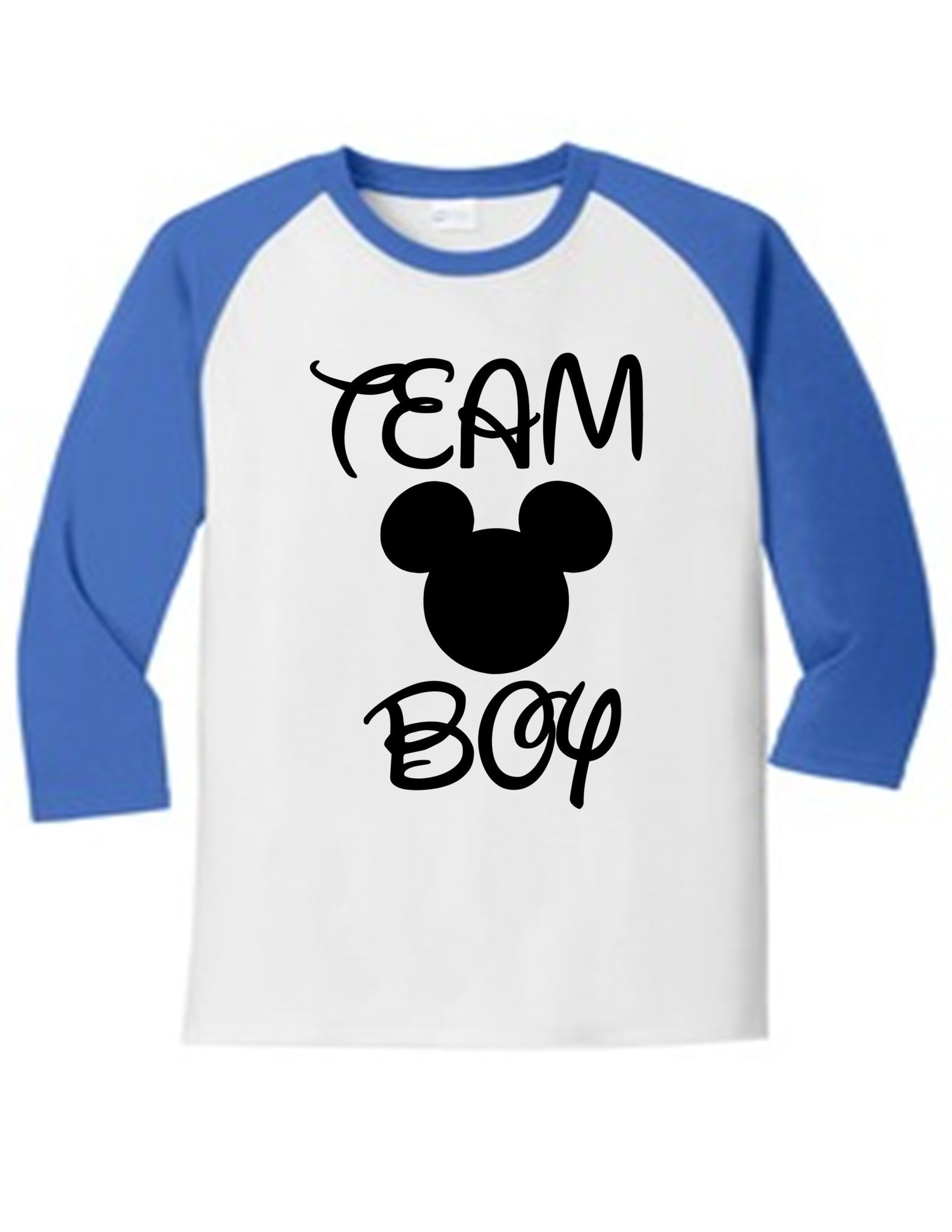 Team Boy Gender Reveal Mickey 5700 Raglan T Shirt