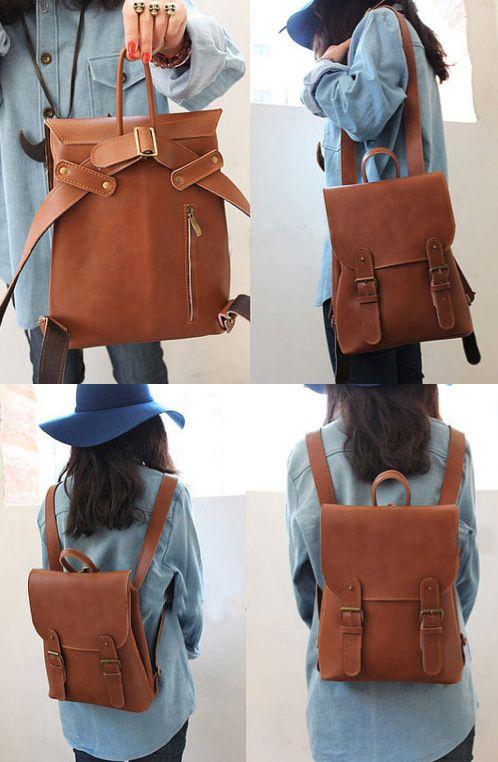 Lovely Handmade Leather Vintage Backpack Shoulder Bag Satchel