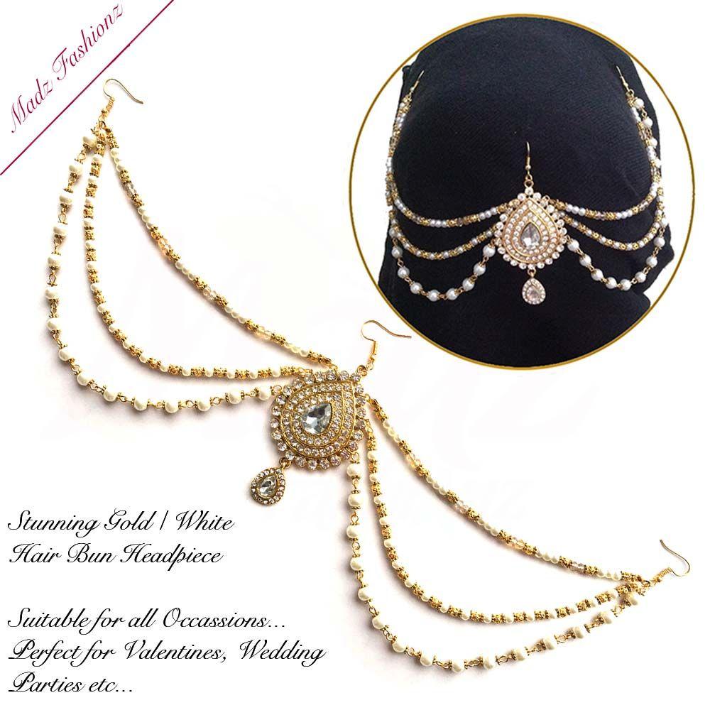 Mehrani Bridal Hair Bun Headpiece Jodha Gold Juda | Hair buns ...