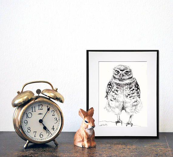 little owl drawing original by adriana de matos artwork