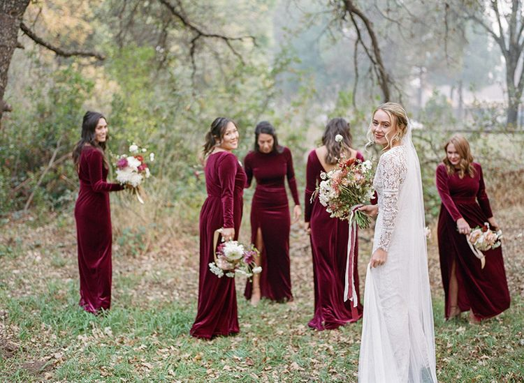 Red Velvet Bridesmaid Gown Bridesmaid Dresses That Are Velvet Velvet Dress Red Dress Autumn We Velvet Bridesmaid Gowns Velvet Bridesmaid Dresses Bridesmaid,Cocktail Dress For Winter Wedding