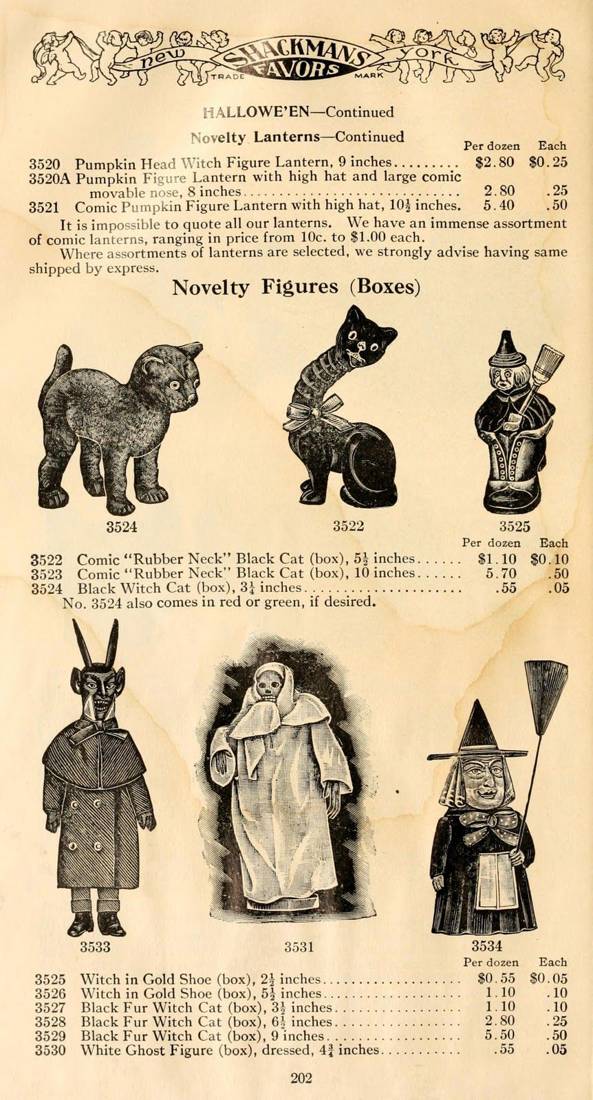 vintage halloween collectibles catalog page ephemera witches and witchcraft - Fright Catalog Halloween Decorations