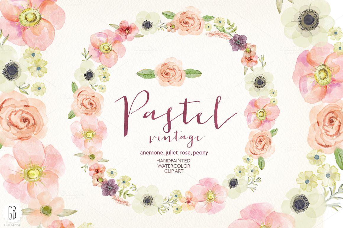 Watercolor pastel wreath juliet rose by grafikboutique on creative