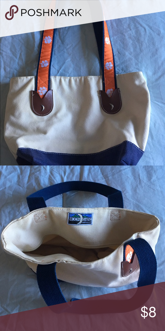 f140d319f3c MoonshineUSA Clemson canvas tote Canvas tote with Clemson University tiger  paws on straps. Lightly used  however, zipper is broken. Bags Totes