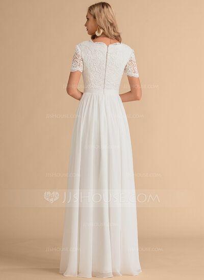 A-Line V-neck Floor-Length Chiffon Lace Wedding Dress (002215652) - JJ's House