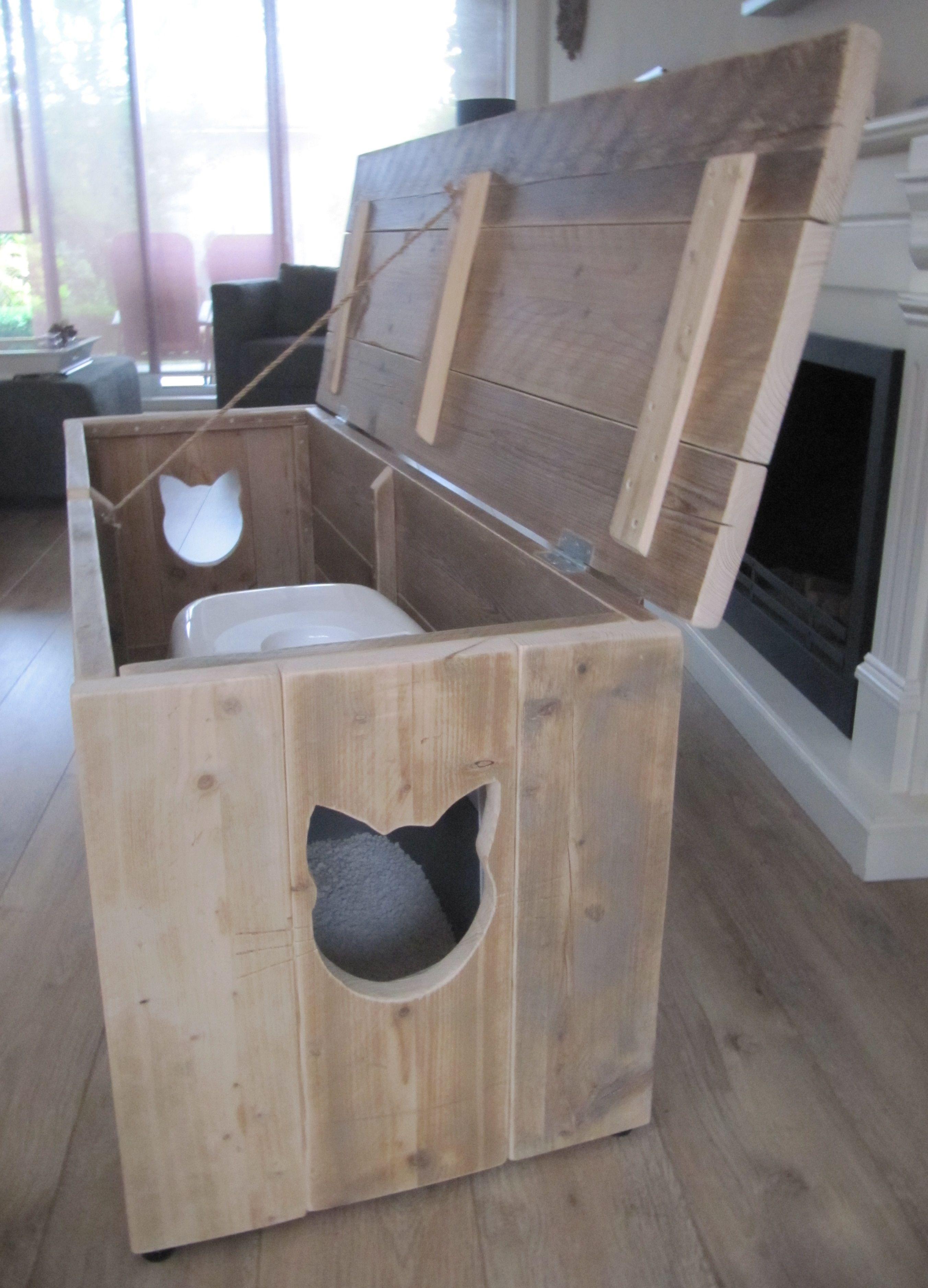 Kattenbak Kast Marianne Van Gebruikt Steigerhout For The