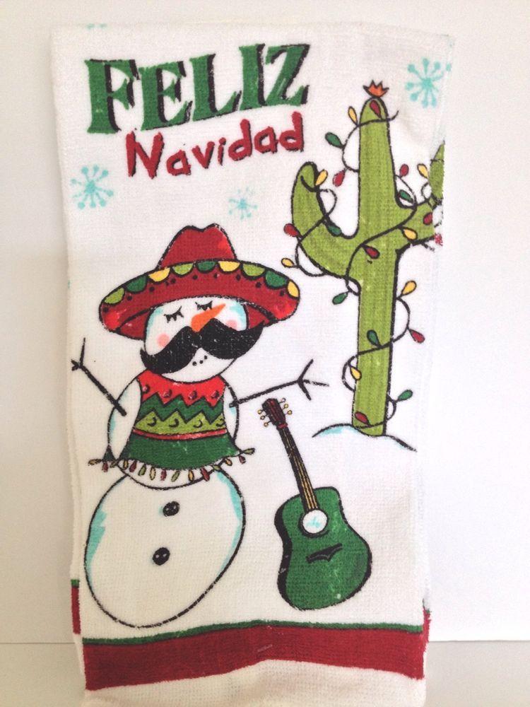 2 mexican hat snowman kitchen towels feliz navidad cactus for Cactus de navidad