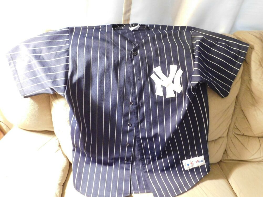 reputable site a65e8 6b2ca New York Yankees Navy Blue & White Stripes Majestic Jersey ...