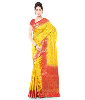 Gold And Red Woven Art Silk Traditional Paithani Theme Saree Sarees on Shimply.com