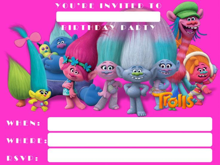 Download Now FREE Template Printable Trolls Invitation