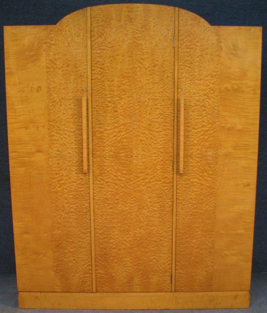 Art Deco Maple U0026 Birdseye Maple 3 Door Fitted Wardrobe / Armoire