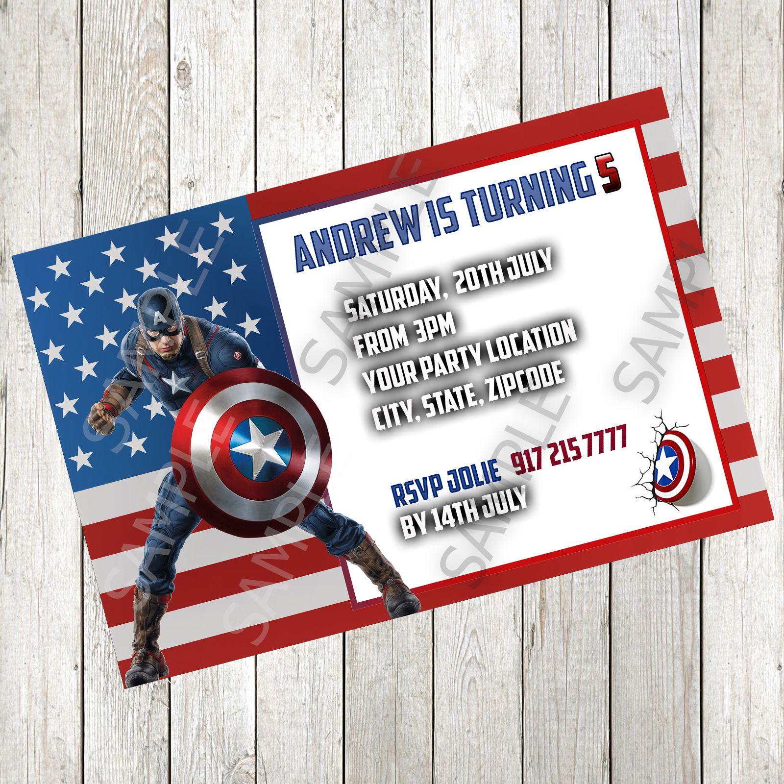 Birthday Invitation Captain America v2 Invitations