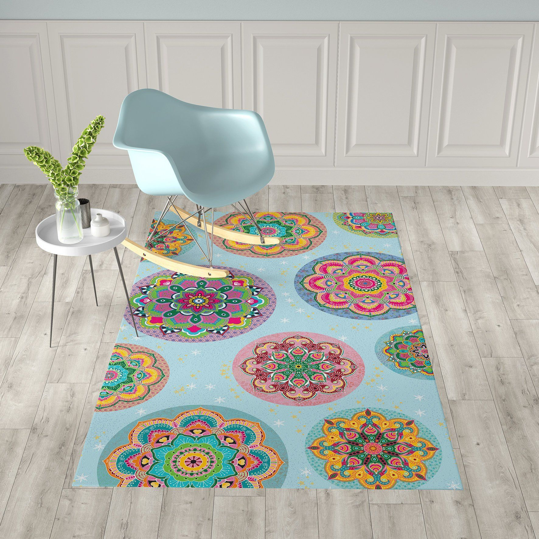 Vinyl Floor Mats >> Large Mandala Vinyl Area Mat Beautiful Home Office Rug Non