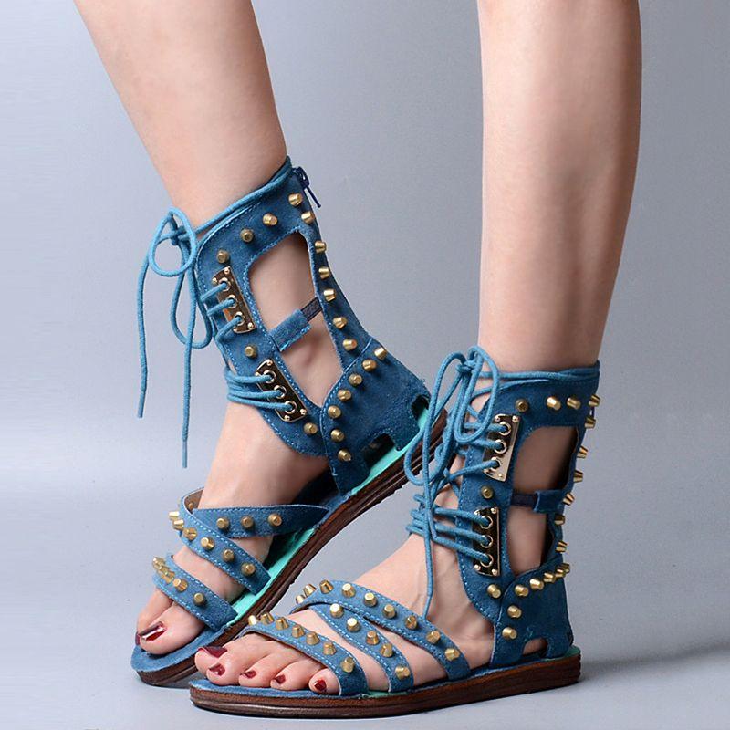 Ladies Roma Suede Punk Lace Up Flats Sandals Rivet High Top Shoes Spike Rivets S