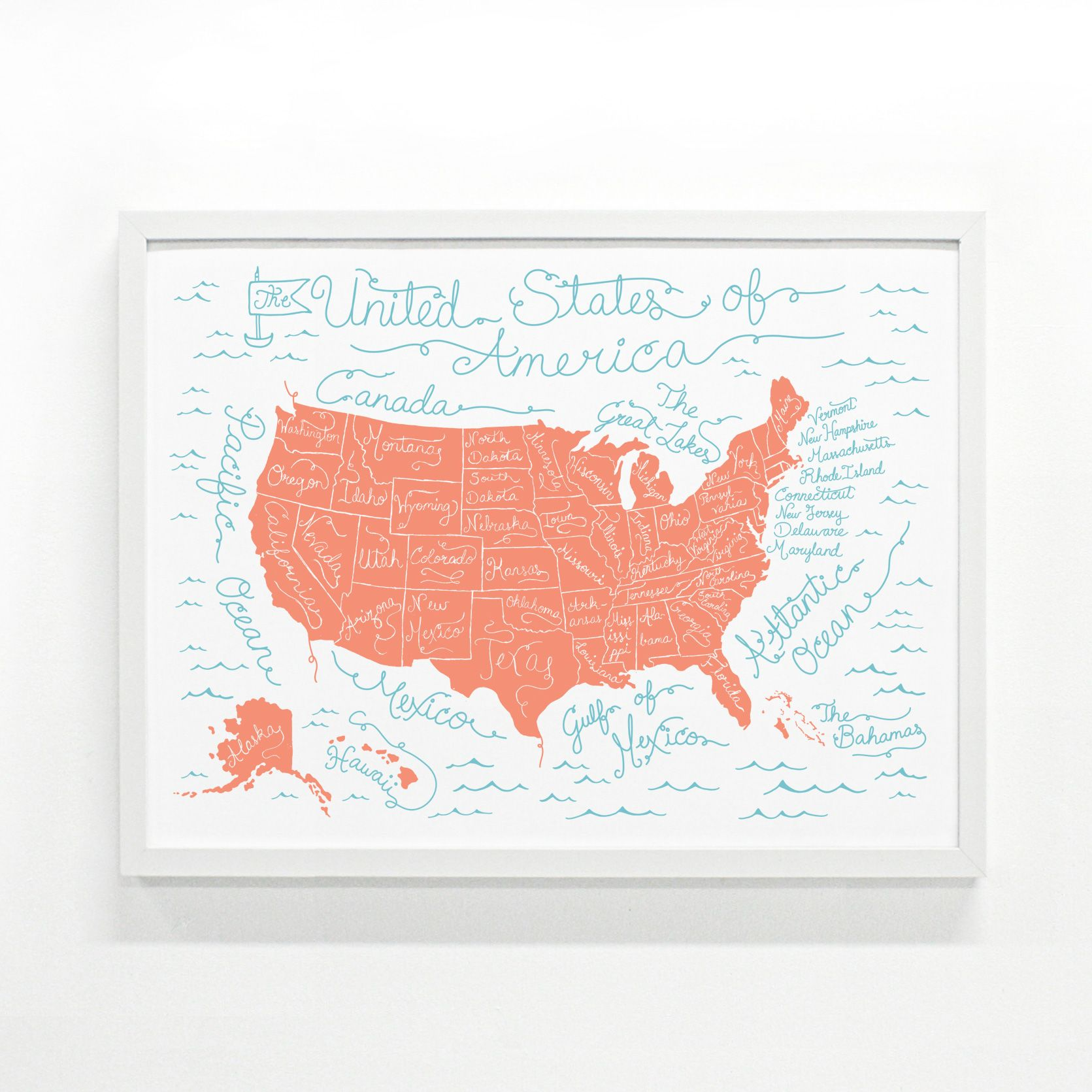 Monorail s USA Map Print is a beautiful piece of decor that only