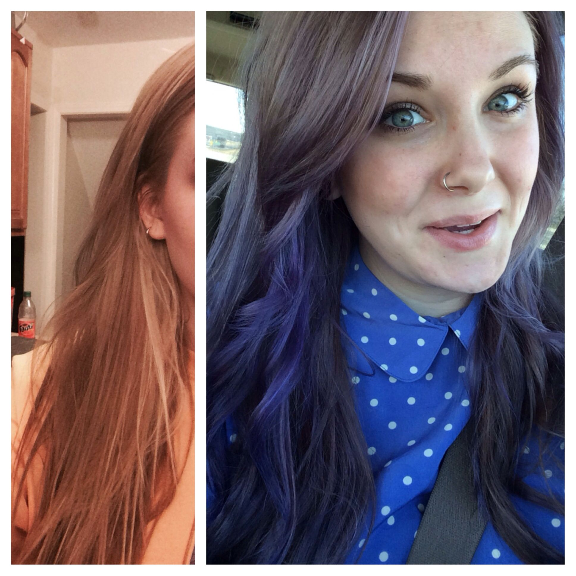 Purple Hair Before And After Ion Color Brilliance Brights Purple And Lavender Mixed Together Hair Color Images Semi Permanent Hair Color Hair Color Reviews