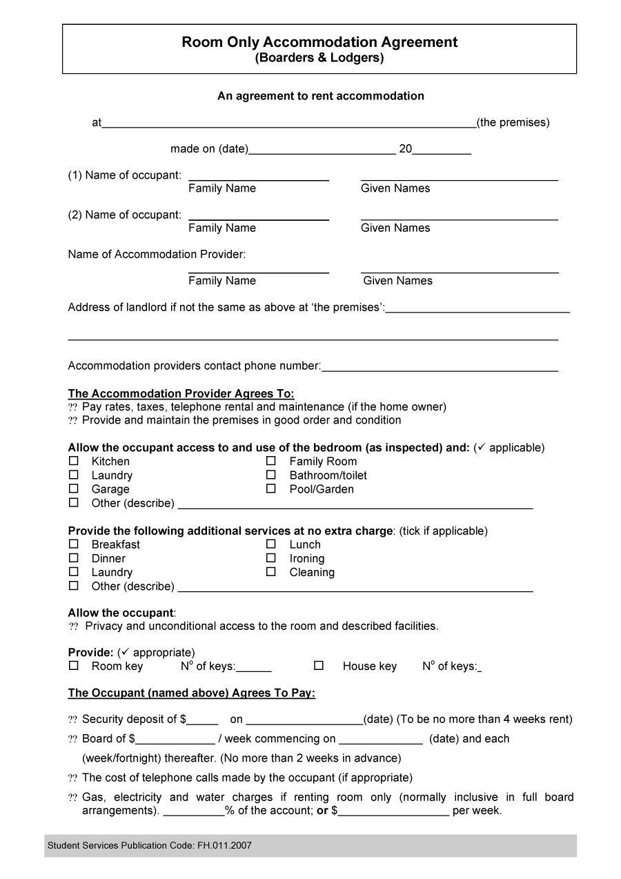 Roommate Agreement Template   Rental Agreement