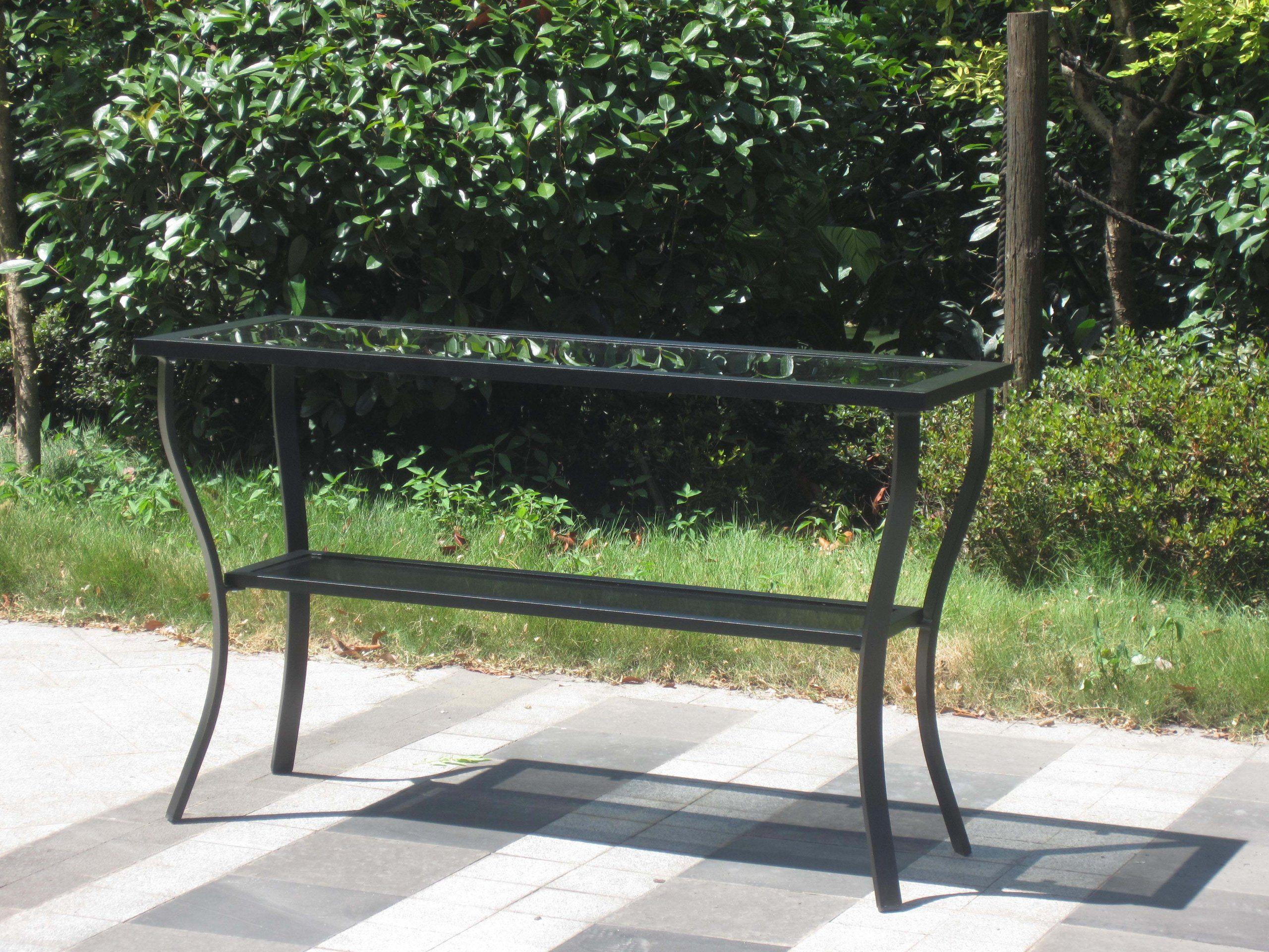 outdoor aluminum riviera console patio table black garden