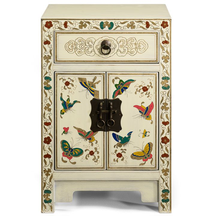 Small Butterfly Cabinet Black Lacquer Bedside Cabinet Small
