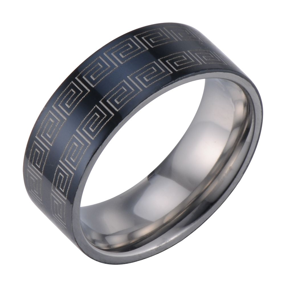 It is a graphic of Tribal Art Men Ring Wedding Band Stainless Steel Greek Symbols