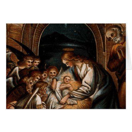 nativity scene virgin mary baby jesus angels crib card christmas cards merry xmas family party