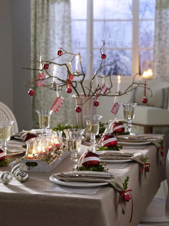 DIY Christmas Table Setting& Centerpieces Ideas 30