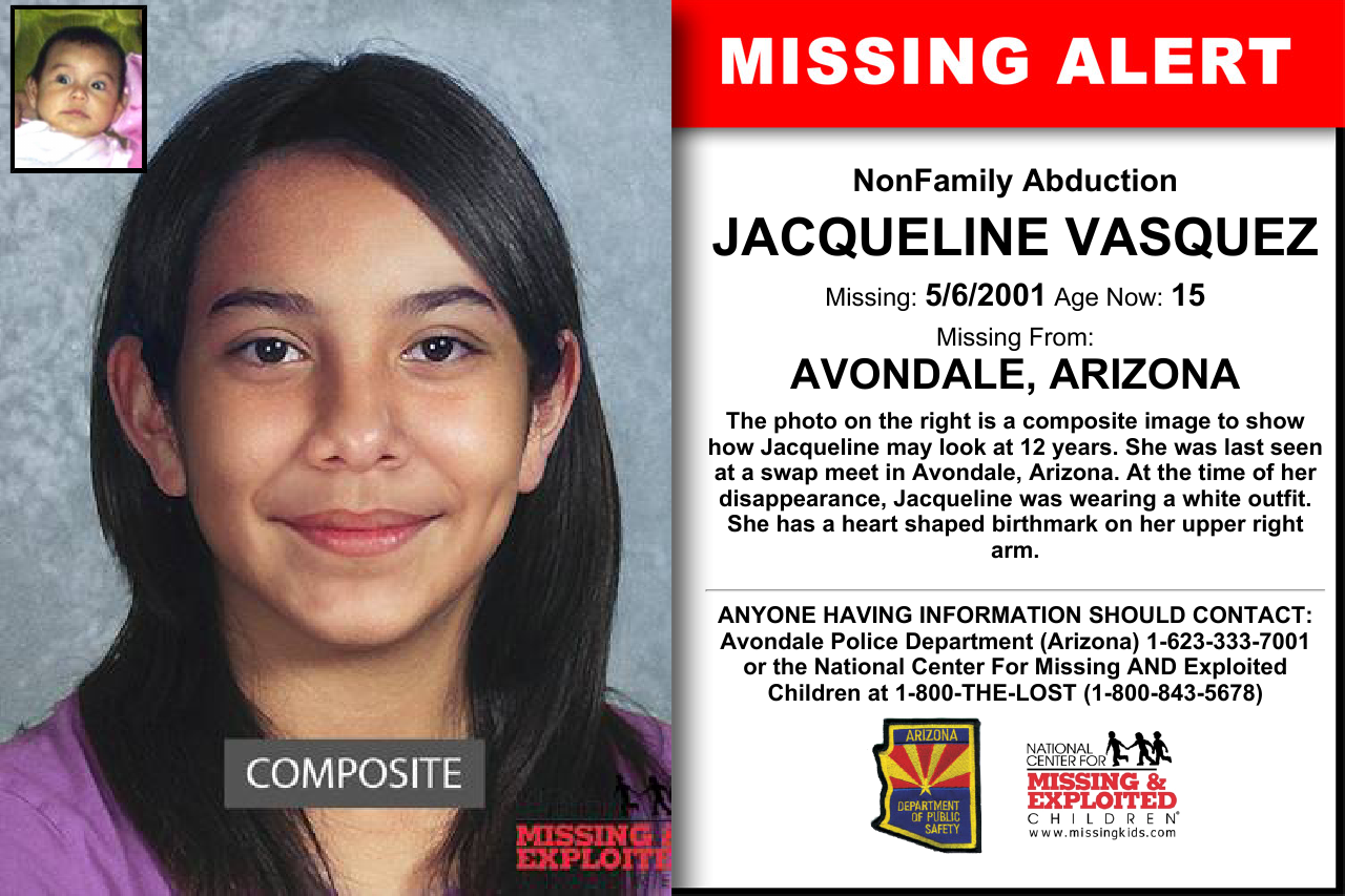 JACQUELINE VASQUEZ, Age Now: 15, Missing: 05/06/2001
