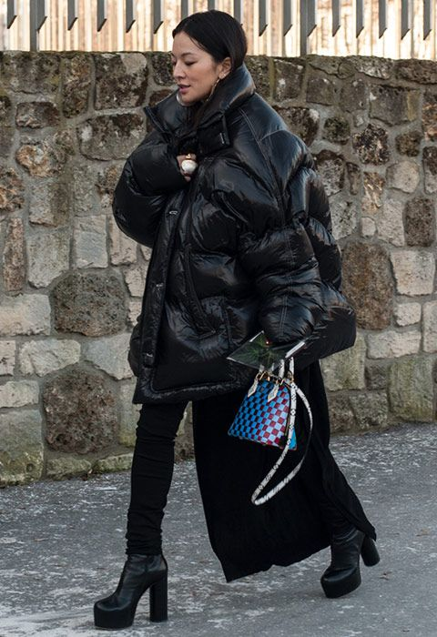 Oversized Down Puffer Coat Black