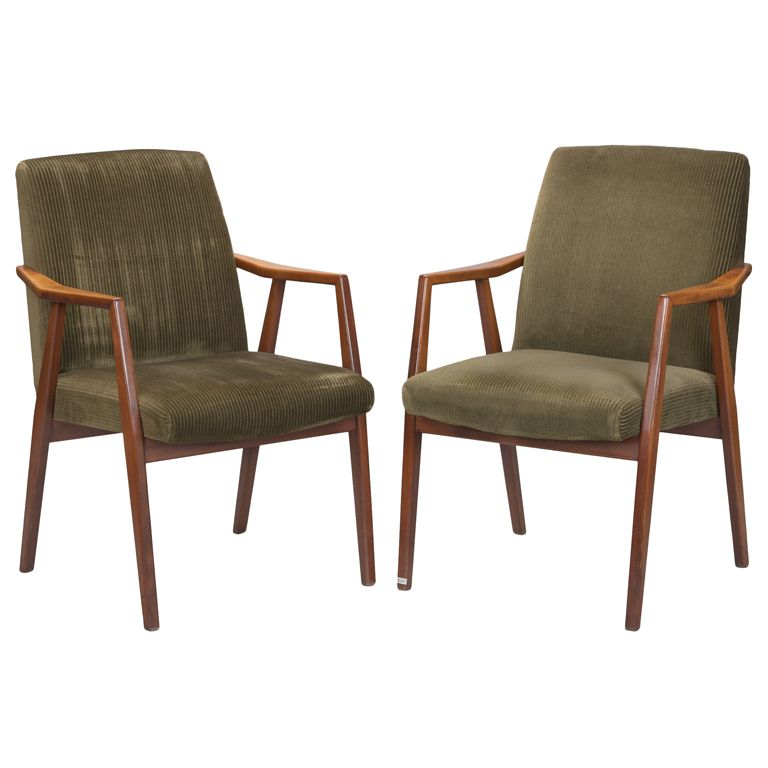 Set Of 4 Mid Century Walnut Armed Dining Chairs
