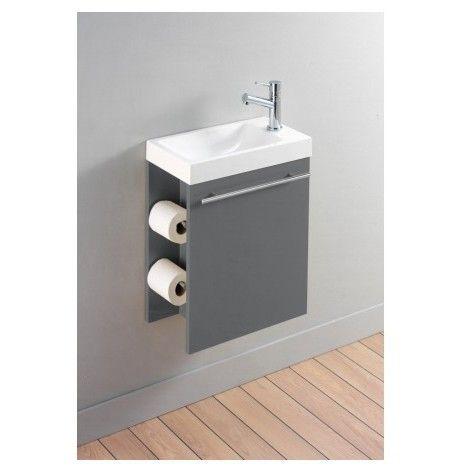 pack complet meuble lave mains avec distributeur de papier toilette gris laqu tiny home. Black Bedroom Furniture Sets. Home Design Ideas