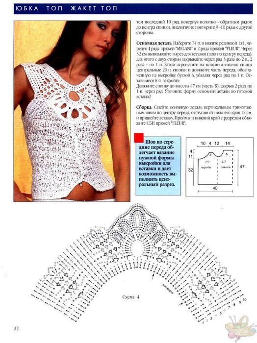 blusa blanca 1 | patrones de blusas tejidas en crochet | Pinterest ...