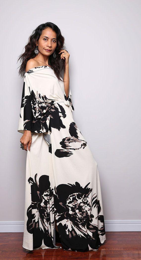 Boho Maxi Dress - Long Wide Sleeve Floral Print Dress : Funky ...