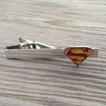 Superman tie clip, Man of Steel DC Comics superhero superheroes tie bar clasp