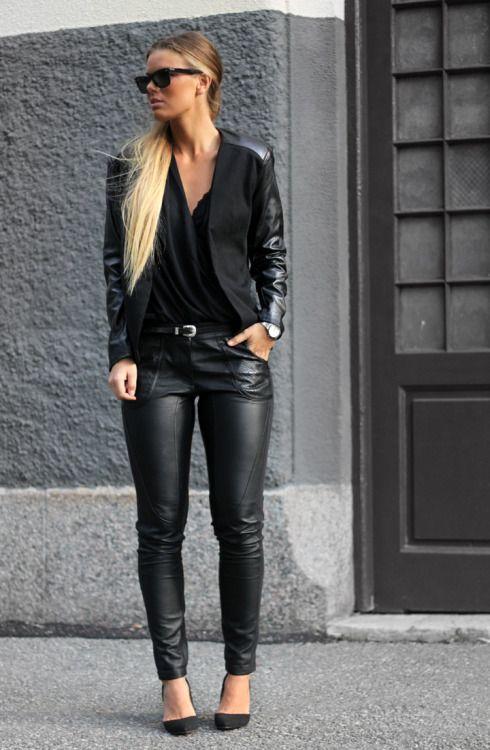 die besten 25 leder leggings damen schwarz ideen auf pinterest damen jeans leggings. Black Bedroom Furniture Sets. Home Design Ideas
