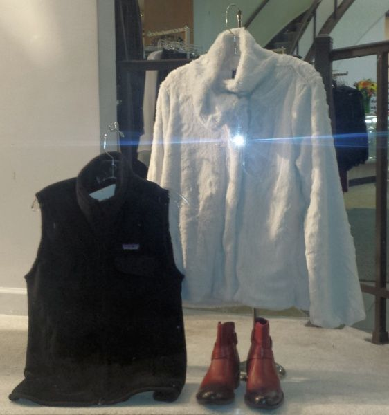 Holiday fashion: Patagonia vest and jacket; ankle boots by Cobb Hill