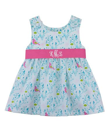 2d464c2d8e3 Look what I found on  zulily! Blue Floral Monogram Dress - Infant ...