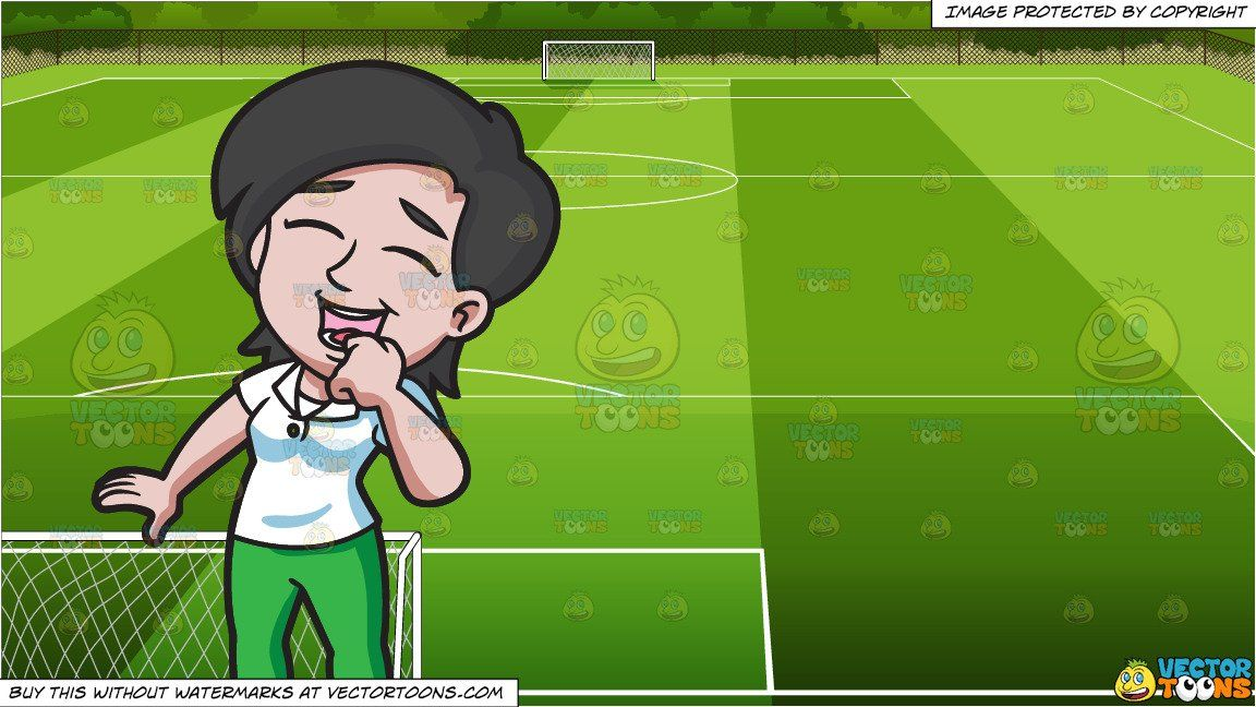 A Woman Laughing In Happiness And Soccer Field Background Women Laughing Soccer Field Laugh