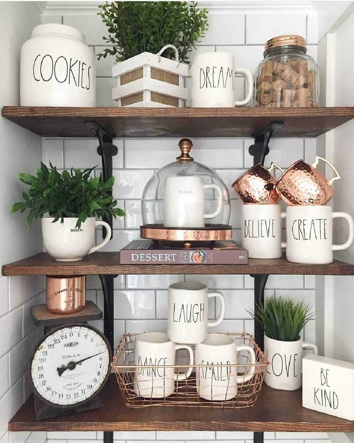 10 Farmhouse Shelf Decor Ideas that are both Functional and