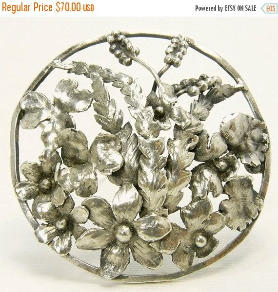 Vintage Sterling Silver Flower Brooch Hand Chased Art by jujubee1