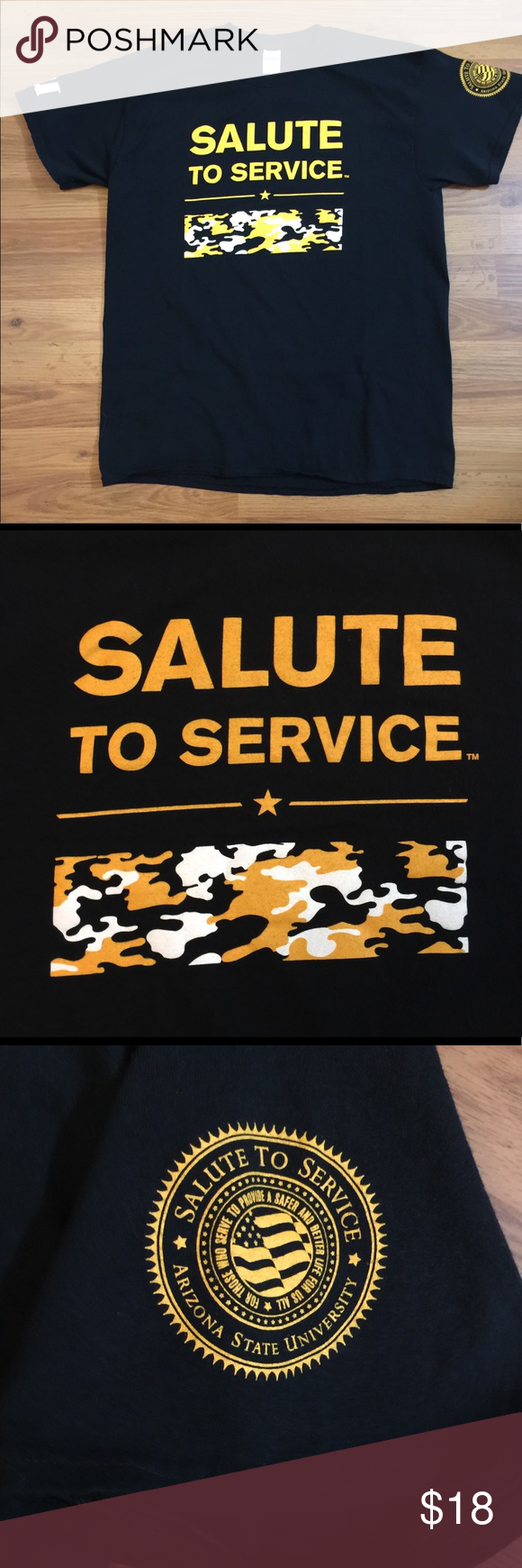 ASU Sun Devils  NCAA SALUTE TO SERVICE T Shirt! Shirt is made of cotton and features a Salute to Service logo screened on the front, ASU logo on the right sleeve end, ASU Salute to Service logo screened on the left sleeve end and Bound by Service Driven by Innovation logo screened on the back.  Shirt is a size L and measures 21 from arm pit to arm pit, 28 from shoulder to bottom in the front, 29 from shoulder to bottom in the back.  This item is gently used and is free from rips, tears, frayi #salutetoservice