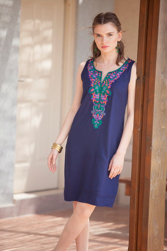 de17fd603cbd Navy Blue embroidered Short Women Dress, Kaftan Summer Dress, Tribal  Moroccan Caftan, Ethnic Tribal