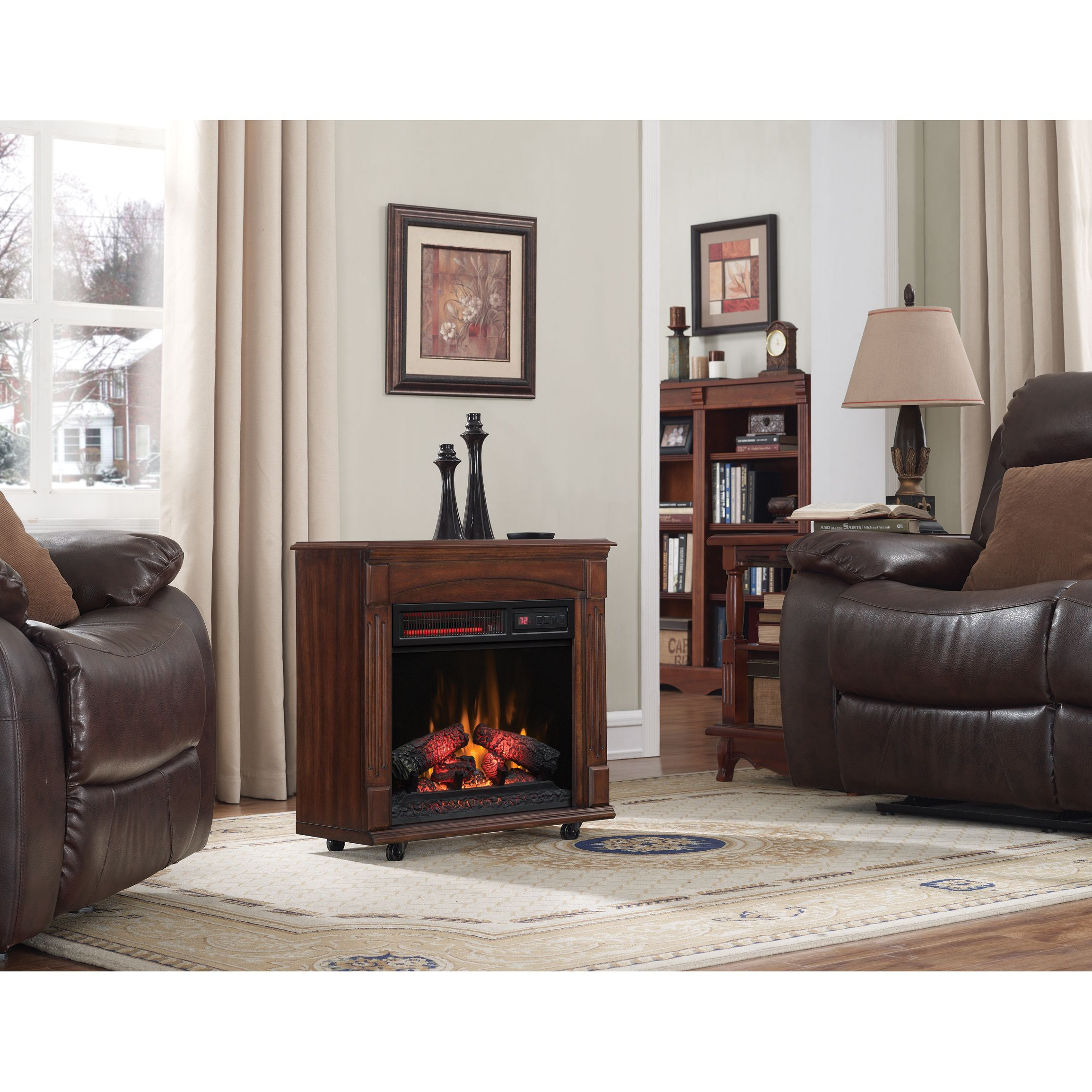 Rolling Mantel With Infrared Quartz Electric Fireplace Meridian Cherry Price