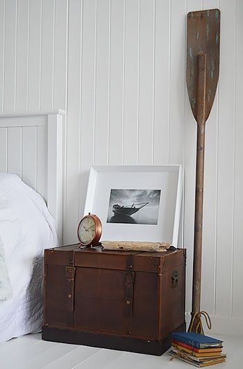 Bedside Table In Vintage Travel Trunk Luggage Style. New England Style  Bedroom Furniture From The
