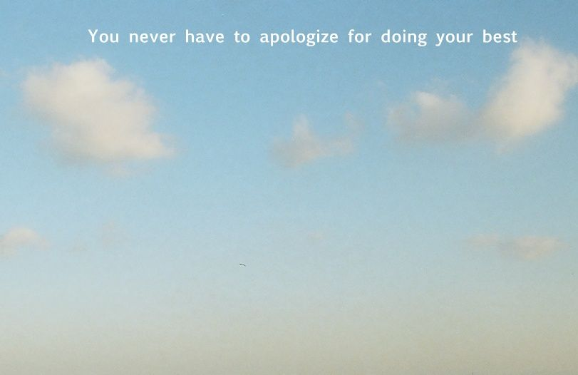 You never have to apologize for doing your best.
